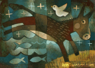 folk art abstract style painting of a burro jumping over a river with fish