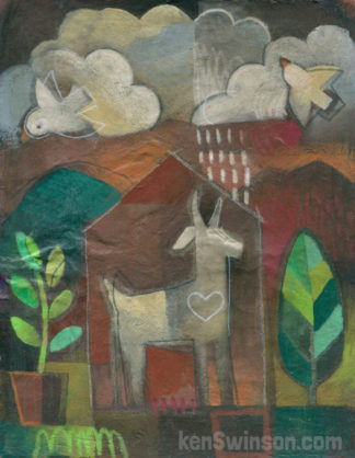 folk art abstract style painting of a goat in a house, with a raincloud over the house