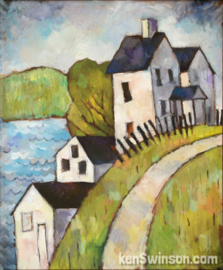 folk art style painting of houses along a hill with a view of water in the background