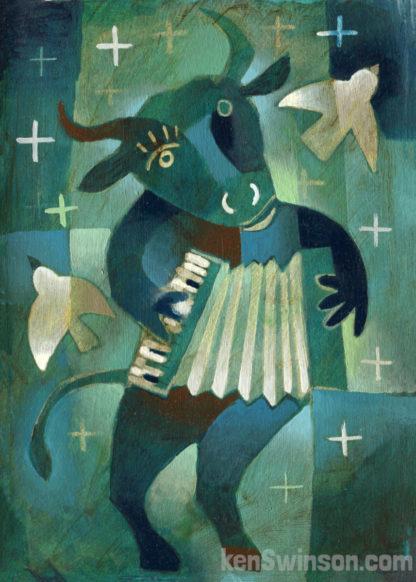 bull playing an accordian