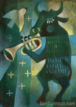 bull playing trumpet musical instrument