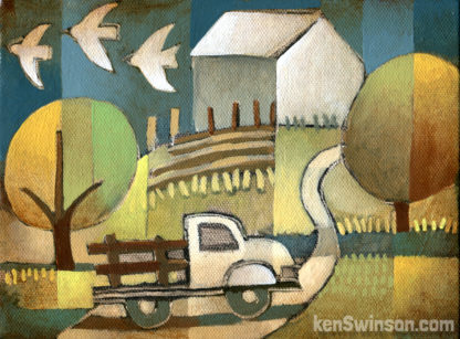 farm truck driving up hill to a barn in the distance with birds in the sky