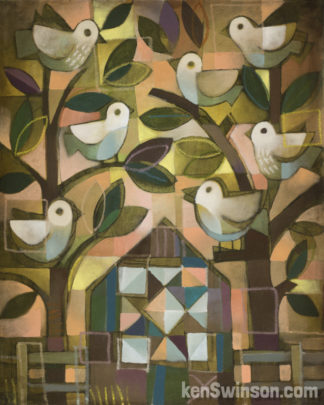 barn with quilt design surrounded by two trees filled with birds