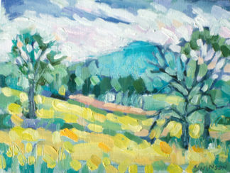 plein air painting of a yellow field with mountain in the background near wallingford, kentucky