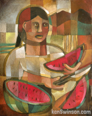 folk art style mexican ifluenced painting of woman slicing a watermelon