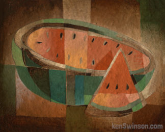 folk art abstract style painting of a sliced watermelon