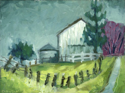 plein air painting of a white barn with purple trees in the background in mason county kentucky