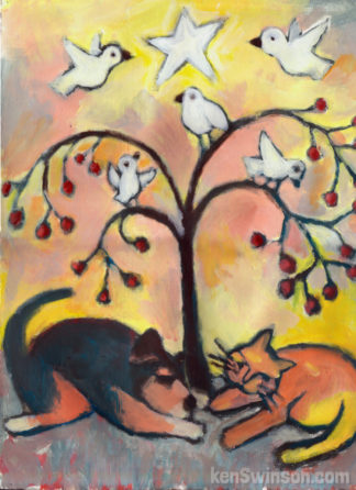 painting of dog and cat under tree with birds and star