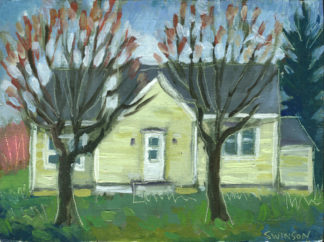plein air painting of a yellow house in old washington kentucky