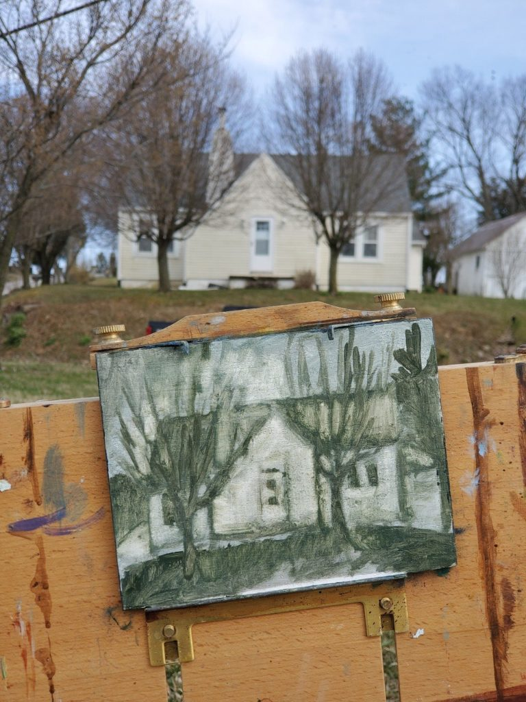 plein air underpainting of yellow house in old washington kentucky by artist ken swinson