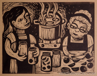 linocut of two women canning tomatoes