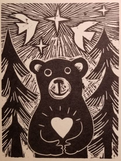 wooduct notecard of a bear in the forest holding a heart with star over head