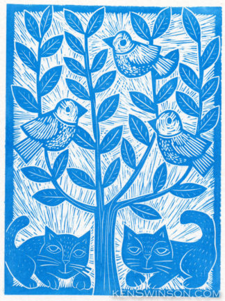 folk art style linocut of two cats under a tree, with 2 birds in the branches
