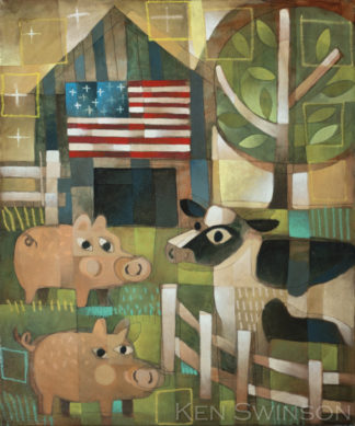 folk art abstract style painting of pigs and a cow in front of a barn with the american flag by kentucky artist ken swinson