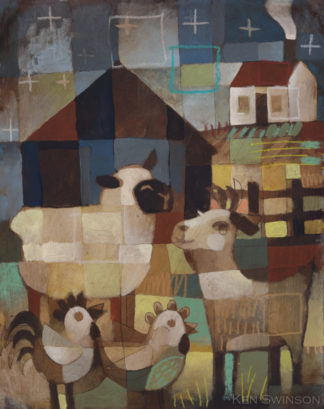 folk art style painting of farm animals: sheep goats and chickens around a barn at night by kentucky artist ken swinson