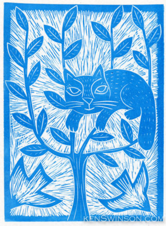 folk art style linocut of a cat stuck in a tree