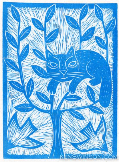 folk art style linocut of a cat stuck in a tree