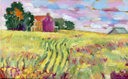 plein air painting of federal hill in old washington, a historic old brick house in a field of corn