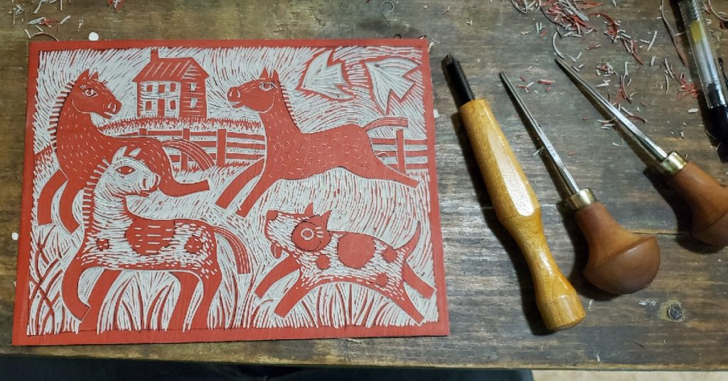 linocut work in progress almost finished