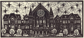 linocut of music hall in cincinnati ohio by artist ken swinson