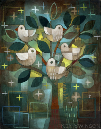 folk art abstract style painting of birds in a tree by kentucky artist ken swinson