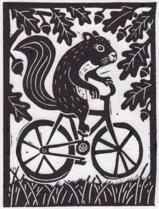 linocut of squirrel riding bicycle