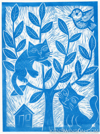 folk art style linocut of two cats, one climbing a tree trying to catch a bird