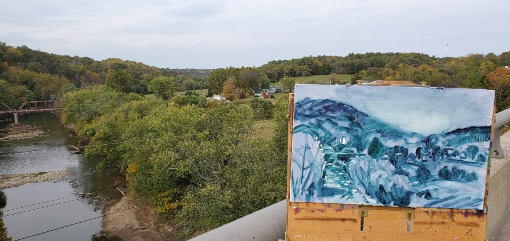 plein air underpainting of the Licking River by Kentucky Artist, Ken Swinson