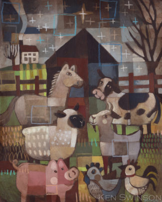 folk art abstract style painting of farm animals under a star with a barn horse, cow, sheep, goat, pig and chickens by kentucky artist ken swinson