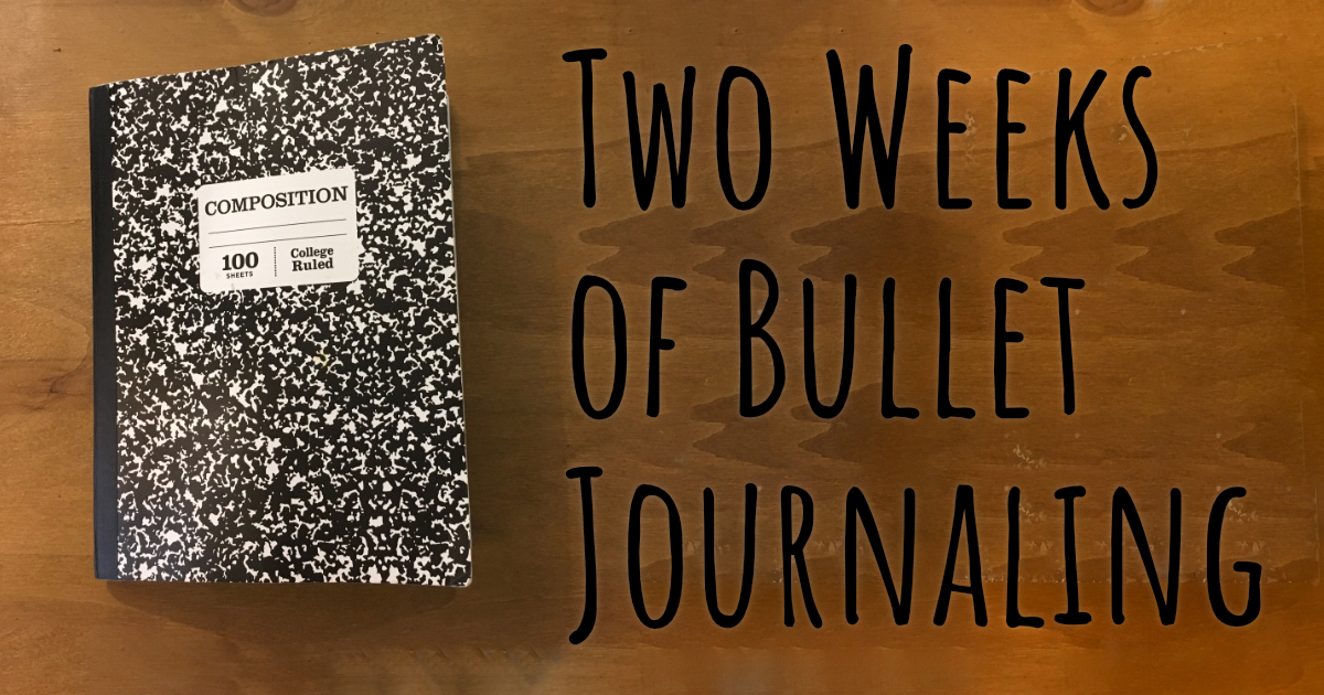 composition book two weeks of bullet journaling