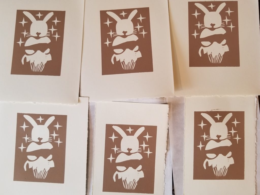 first of two colors for a bunny rabbit linocut print