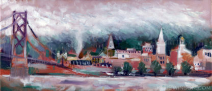 plein air painting of maysville kentucky river village on the ohio river in the fog with bridge and buildings in the background by artist ken swinson