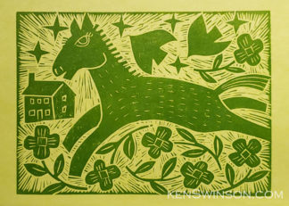 traditional linocut of horse running in flowers with house in the background