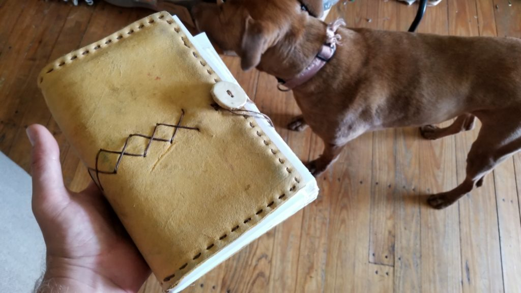 handmade leather journal by Mea Dewers in Augusta Kentukcy