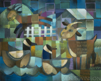 abstract folk art style painting of goats and geese at a lake by kentucky artist ken swinson