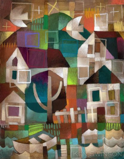 folk art abstract style painting of a river town colorful by kentucky artist ken swinson