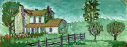 plein air painting of a stone house with apple trees painted on location in May's Lick Kentucky