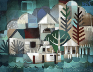 abstract folk art style painting of a boat at a pier by kentucky artist ken swinson