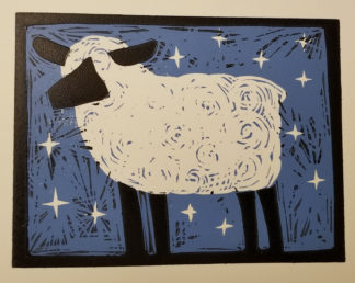 2 color reduction woodcut of sheep with stars in the background