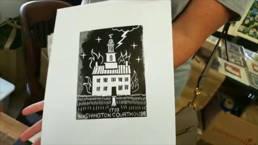 linocut of the old washington courthouse being struck by lightning in old washington kentucky