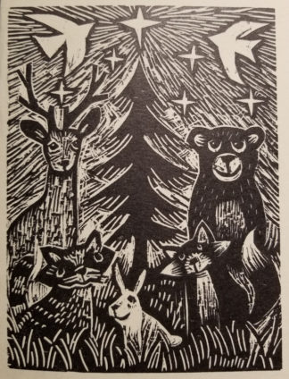 woodcut print of wildlife around a christmas tree with star in the sky