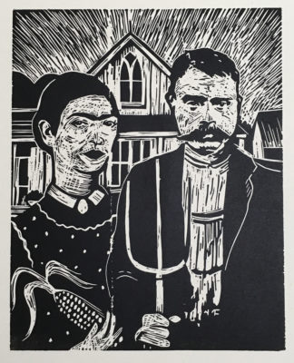 woodcut depicting frida kahlo and emiliano zapata in grant woods classic american gothic pose