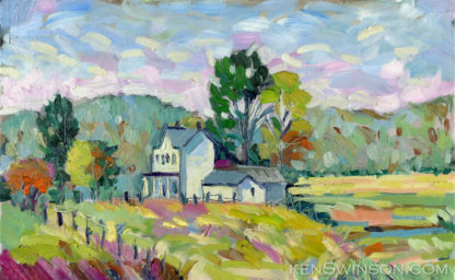 plein air painting of white farmhouse in field with hills in the background