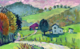 plein air painting of a green landscape with white house and red barn in the distance carter county kentucky
