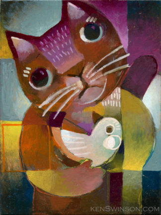folk art style abstract oil painting of a cat holding a bird oil painting