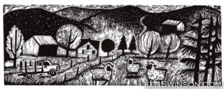 folk art style linocut of lewis county kentucy farm scene with a country road mountains and sheep