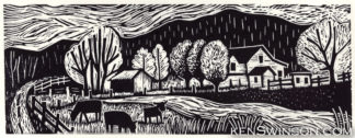 folk art style linocut of a farm with cows in lewis county kentucky