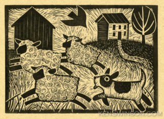 folk art style linocut of a sheep dog herding 3 sheep