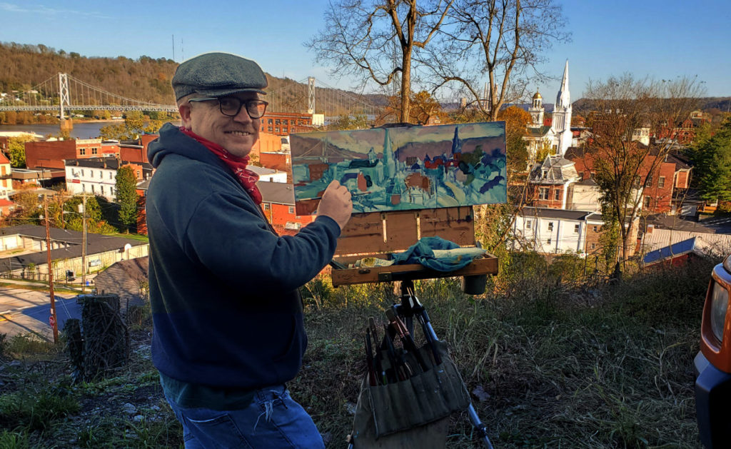 kentucky artist, Ken swinson, plein air painting view of downtown maysville and the ohio river