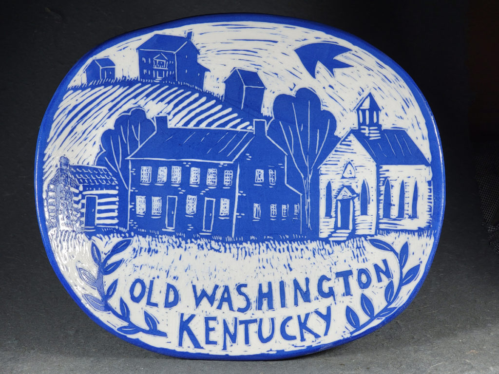 blue porcelain plate with design of old washington kentucky